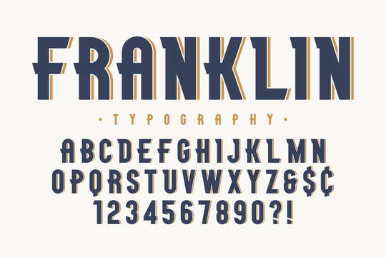 Franklin trendy vintage display font design, alphabet