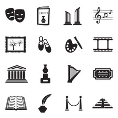 Art Icons. Black Flat Design. Vector Illustration.