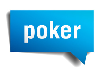 poker blue 3d speech bubble