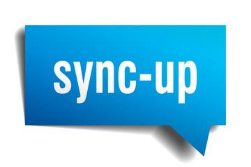 sync-up blue 3d speech bubble