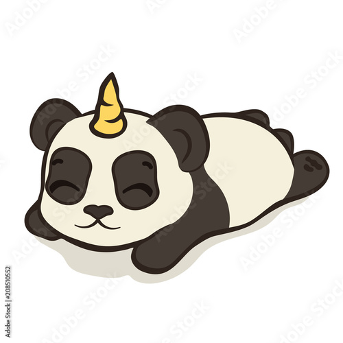 Cute Panda Bear Character With Unicorn Horn Isolated Sleeping Panda