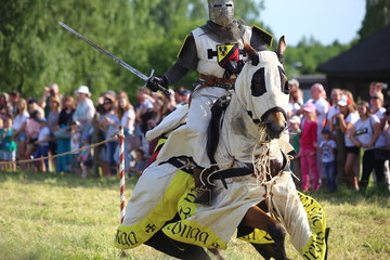 Knight riding a horse, historical medieval concept