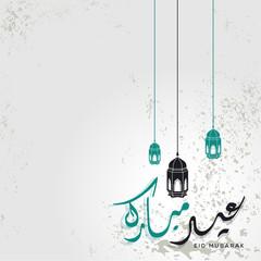 Eid Mubarak islamic greeting with arabic calligraphy template design