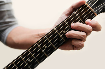 Guitar chords,Selective focus,Guitarist,The musicians are catching the guitar chords is D minor chord on white background