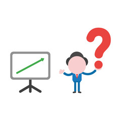 Vector businessman character with sales chart moving up and holding question mark