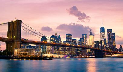 Brooklyn Bridge and Lower Manhattan in New York City