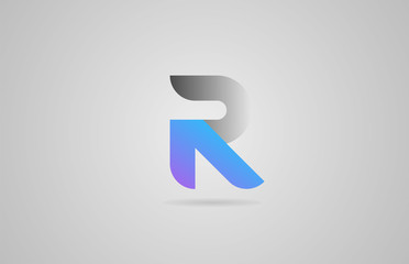 grey blue pink alphabet letter r logo icon design