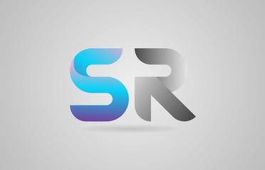 grey blue alphabet letter sr s r logo icon design