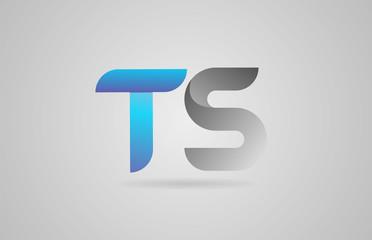 grey blue alphabet letter ts t s logo icon design