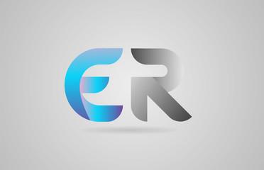 grey blue alphabet letter er e r logo icon design