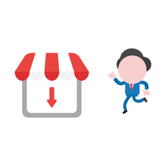 Vector businessman character running to shop store with arrow moving down