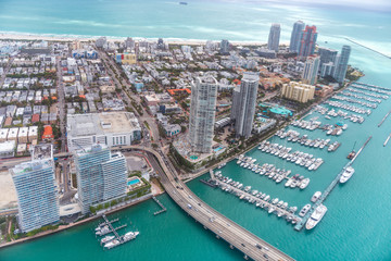 Miami Canal, MacArthur Causeway and South Pointe Park, view from helicopter