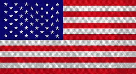 Flag of the USA. Grunge halftone texture. Vector illustration.