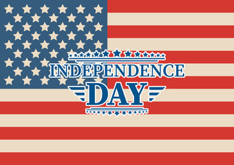 4th of July, United Stated independence day greeting. Fourth of July typographic design. Usable as greeting card, banner, background.