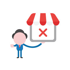 Vector businessman character holding shop store with x mark and gesturing hand stop sign