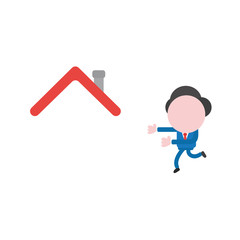 Vector businessman character running to house roof