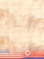 United States of America and North Korea Flags on Vintage Paper with space for your text