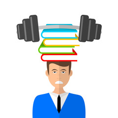 Young boy carring a heavy pile of books. Vector