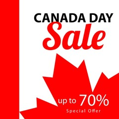 Canada Day Sale up to 70% Vector Template Design Illustration