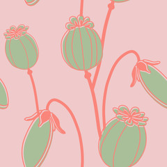 Hand Drawn Poppy Flowers Vector Patterns