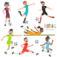 Different players at the time of the ball color flat illustration set. Football player glides on the stomach on the grass illustration