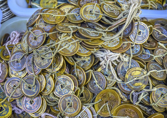 Old Chinese Copper Qing Money Panjuan Flea Market Beijing China