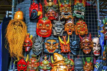 Chinese Replica Wooden Masks Panjuan Flea Market  Beijing China