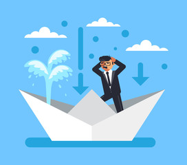 Businessman office worker bankrupt panic man character sink in broken boat. Business fail company finance disaster concept. Vector flat cartoon graphic design isolated illustration