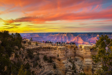 Sunset above south rim of Grand Canyon from the Mather Point Wall mural