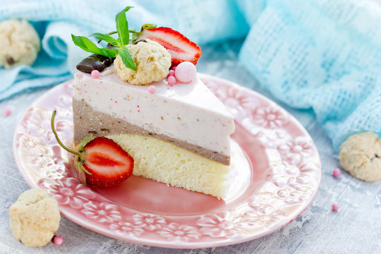 Strawberry chocolate cake - dietary cheesecake without baking with strawberry and chocolate layers on biscuit