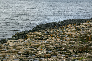 Hexagon shaped stones on the beach at Giant Causeway, Northern Ireland.