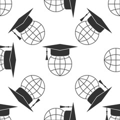 Graduation cap on globe icon seamless pattern on white background. World education symbol. Online learning or e-learning concept. Flat design. Vector Illustration