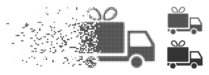 Gray vector gift delivery icon in dissolved, pixelated halftone and undamaged whole variants. Rectangle dots are used for disappearing effect.