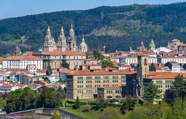 View of Old Town from Gaiás in Santiago de Compostela, Spain