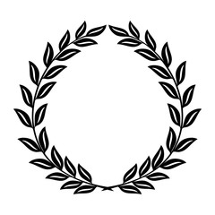 Laurel wreath reward on white background