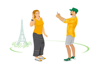 Color graphic illustration of couple of adult tourists on background of Eiffel Tower in summer. Man takes picture of  nice woman on smartphone camera. Vector illustration, sketch, isolated.