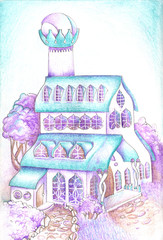 Abstract fictional city with fairy houses. Drawing in turquoise purple on a white background. hand drawn on paper background illustration with mascara and colored pencils.