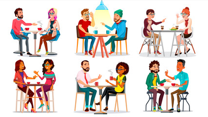 Friends In Cafe Vector. Man, Woman, Boyfriend, Girlfriend. Sitting Together And Drinking Coffee. Bistro, Cafeteria. Restaurant. Communication Breakfast Concept. Isolated Cartoon Illustration