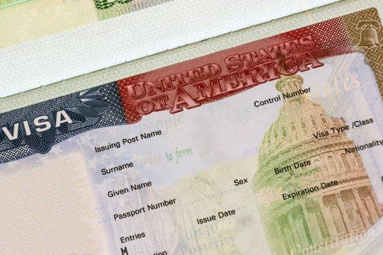 American visa in passport closeup. Travel concept