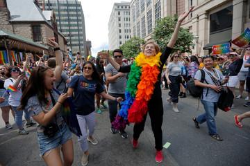 U.S. Senator Elizabeth Warren marches in Boston's 48th Pride Parade in Boston