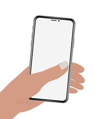Hand holding phone on white screen