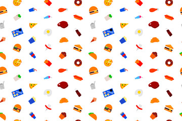 Fast food background from color icon. Multicolor vector pattern