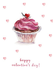 Watercolor St. Valentine illustration with pink cupcake