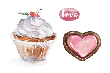 Watercolor Valentine's Day illustration with white cream cupcake and cookie