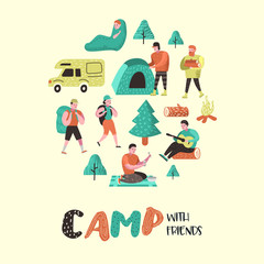 Summer Camping. Cartoon Characters People in Camp. Travel Equipment, Campfire, Outdoor Activities. Vector illustration
