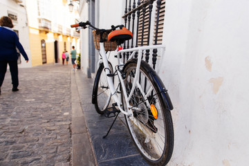 A bicycle on the street on the ancient street of Spain. The Costa del Sol.
