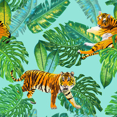 Tigers in Tropical Palm Leaves Seamless Pattern. Tropic Watercolor Background with Tiger and Monstera for Wallpaper, Wrapping Paper. Vector illustration