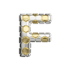 Alphabet letter F uppercase. Soccer font made of silver and gold football texture. 3D render isolated on white background.