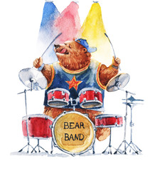 Watercolor illustration sketch - bear playing on drums on white background