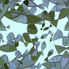 Seamless decorative hand drawn fish art illustrations. Wallpaper, sketch, details & effect.